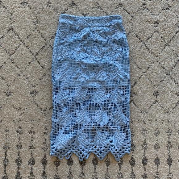 ab48d3549 J.O.A. Skirts | Katie Waltman Boutique Blue Lace Pencil Skirt | Poshmark